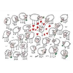 کارت پستال فانتزي 10.5×15 گوسفند عاشق