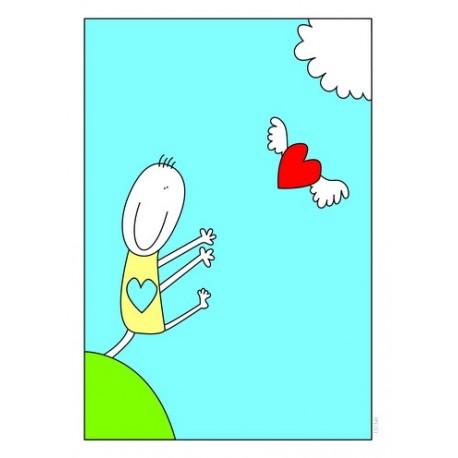 کارت پستال فانتزي 10/5×15 قلب پرنده