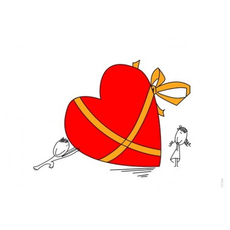 کارت پستال فانتزي 10/5×15 قلب ربان