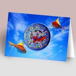 کارت پستال 14.5×21 (کاسه و 3 ماهي زمينه آسمان)