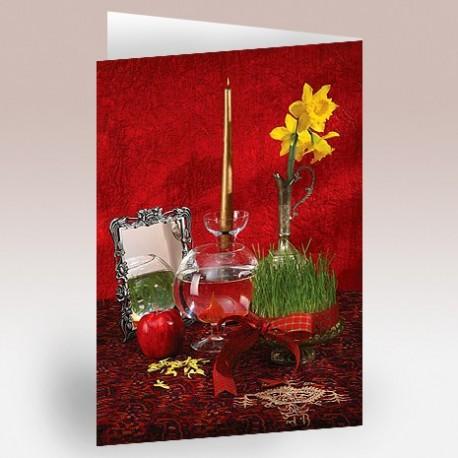 کارت پستال 12×17(هفت سين زمينه قرمز)