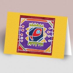 کارت پستال 14.5×21 (ماهي باتيک زمينه زرد)