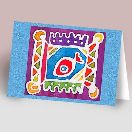 کارت پستال 14.5×21 (ماهي باتيک زمينه آبي)