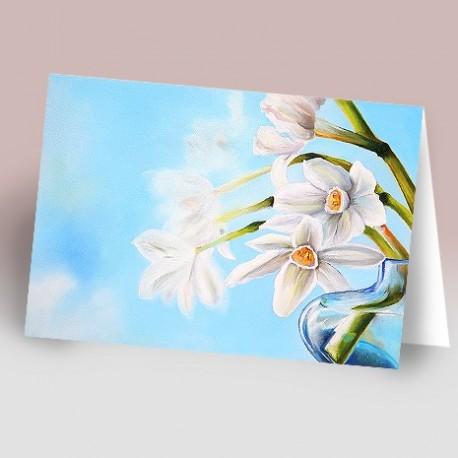 کارت پستال 14.5×21 (کل سفيد رنگ روغن زمينه آبي)